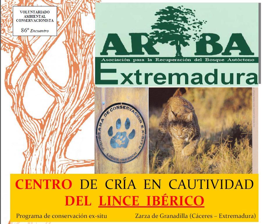 CENTRO DE CRÍA EN CAUTIVIDAD DEL LINCE IBÉRICO Programa de conservación ex-situ Zarza de Granadilla (Cáceres – Extremadura)  FECHA / HORA / LUGAR / PLAZAS / INSCRIPCIÓN / TRANSPORTE. Domingo de 10 de marzo de 2013 / 10:00 h. AM. / Cruce en la carretera a la villa de Granadilla (a pocos kilómetros partiendo desde Zarza) con la de Abadía / 15 PLAZAS / INSCRIPCIÓN PREVIA facilitando: nombre y apellidos, NIF, edad y fecha de nacimiento, domicilio habitual, contactos (tlfs., emails…) y el compromiso personal para avisar con antelación si al final no asistes una vez inscrito. Los menores de edad deberán venir acompañados de padre, madre o tutor con autorización / Transporte privado, se ruega optimizar las plazas libres. DESARROLLO. Tras las gestiones previas entre las partes interesadas, vamos a realizar una colaboración ambiental consistente en la ejecución de diversos cuidados culturales como tratamientos selvícolas parciales (podas, desbroces, adecentamiento de protectores…) en una repoblación instaurada hace tiempo. Tras la comida, y nuestro Encuentro, nos darán a conocer las instalaciones del Programa de conservación ex-situ del felino más amenazado del mundo y que se encuentra en trance de extinción por diversos motivos. Descubriremos la cara más salvaje de España, una joya ibérica. ¡No faltes a esta cita! ¿Te atreves o te lo vas a perder? ¡Allá tú! &quot;Daros prisa, saludadme antes de que sólo quede de mi una huella sin uñas. Me transporta, al galope, el olvido que hoy todo lo acuna... Algo tendría que invertirse, como este escribiros de ahora… Pero se que me extingo. Hasta luego, pues&quot; (El Lince, J.A.P.) CONSEJOS. No olvidar el buen humor… ¡Ser previsores en todo! No dejes las ganas de currar y disfrutar en casa. ¡No vengas buscando historias… descúbrelas! Se admite personal de cualquier edad. Sólo para los amantes de lo vivo. Participar no cuesta un solo euro y a cambio puedes ganar amistades, emociones, aumentar tu sensibilización, tus conocimientos, arrim